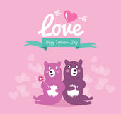 Cute couple bears in love. Stock Image