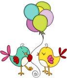 Cute couple bird with balloons stock illustration