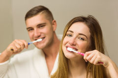 Cute couple brushing their teeth Stock Images