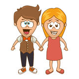 Cute couple character sixty style. Illustration design Royalty Free Stock Photography