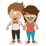 Cute couple character sixty style. Illustration design Royalty Free Stock Images