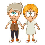 Cute couple character sixty style. Illustration design Royalty Free Stock Image