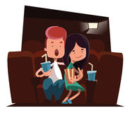 Cute couple at cinema theatre  illustration cartoon character Royalty Free Stock Photography