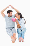 Cute couple considering a mortgage Royalty Free Stock Photo