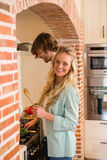 Cute couple cooking together Royalty Free Stock Image