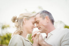 Cute couple dancing and holding hands Stock Image