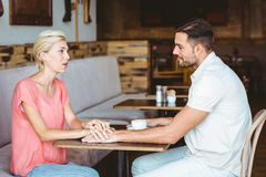 Cute couple on a date holding hands Royalty Free Stock Photography