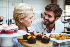 Cute couple on a date looking at each other Royalty Free Stock Photos