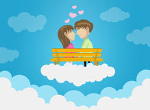 Cute Couple Dating On Clouds, Love, Romance, Kissing. Vector Illustration of Cute Couple Sitting on Bench and Dating on Clouds. Best for Love, Wedding, Romance stock illustration