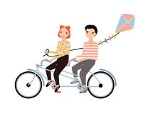 Cute couple dressed in trendy clothes riding tandem bicycle and holding kite. Young man and woman sitting on bike stock illustration
