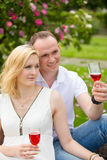 Cute couple drinking red wine on a picnic smiling at each other on a sunny day Royalty Free Stock Photography