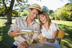 Cute couple drinking white wine together outside Stock Photos