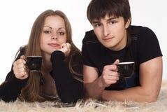 Cute couple drinks Stock Photos