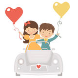 Cute couple driving at Valentines day Stock Photography