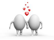 Cute Couple of Egghead Characters in Love stock illustration