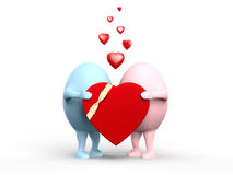 Cute Couple of Egghead Characters with a Valentine Royalty Free Stock Image
