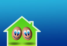 Cute couple of eggs in low-power house Royalty Free Stock Photography
