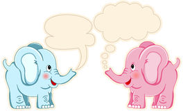 Cute couple elephants with speech balloons Royalty Free Stock Photography