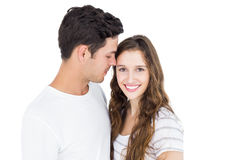 Cute couple embracing and looking the camera Royalty Free Stock Photography