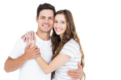Cute couple embracing and looking the camera Royalty Free Stock Image