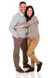 Cute couple embracing. On white background stock image