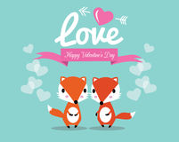 Cute couple foxes in love. Royalty Free Stock Photography