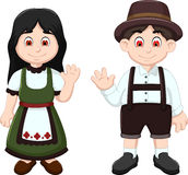 Cute Couple German waving in National Clothes. Illustration of Cute Couple German waving in National Clothes stock illustration