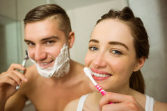 Cute couple getting ready in the morning Royalty Free Stock Photography