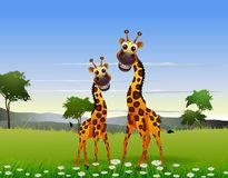 Cute couple giraffe cartoon with landscape background Stock Photography