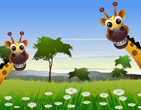 Cute couple giraffe cartoon with landscape background Royalty Free Stock Photo