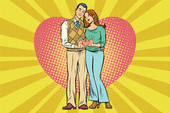 Cute couple, hand gesture a heart of love Royalty Free Stock Images