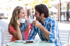 Cute couple having coffee together Stock Photo