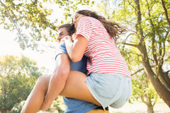 Cute couple having fun in park Royalty Free Stock Image