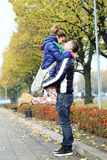 Cute couple having a good time outside Royalty Free Stock Photography