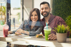Cute couple having healthy lunch Royalty Free Stock Image