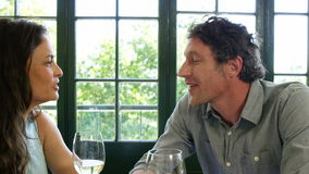 Cute couple having lunch and toasting with wine. In a restaurant stock video
