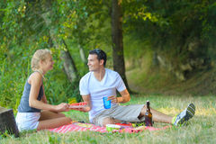 Cute couple having picnic lying on blanket Stock Photography