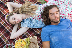 Cute couple having a picnic Stock Photo