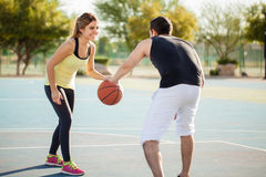 Cute couple having a very active date Stock Images
