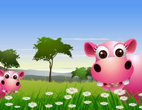 Cute couple hippo cartoon with landscape background Royalty Free Stock Image