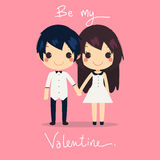 Cute couple hold hands dress shirtbe my valentine Stock Images