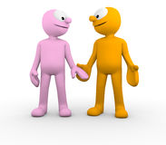Cute couple holding hands. Cute characters holding hands and looking into each others eyes Royalty Free Stock Photo