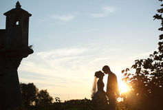 Cute couple holding hands and kissing  on background castle and Royalty Free Stock Photo