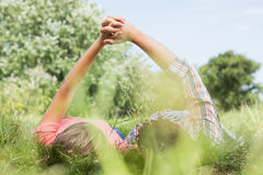 Cute couple holding hands in the park Royalty Free Stock Photos