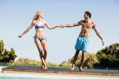 Cute couple holding hands Stock Photos
