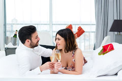Cute couple on honeymoon in hotel. Stock Images