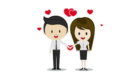 Free Cute Couple In Love Holding Hands, Cartoon Characters Stock Image - 54474281