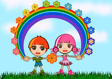 Cute couple kids cartoon illustration Royalty Free Stock Images