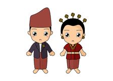 Traditional couple dress of Bengkulu. Cute couple kids wearing a traditional dress of Bengkulu, Indonesia. Simple illustration vector by pitripiter royalty free illustration