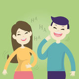 Cute couple laughing together. Vector illustration Stock Photography